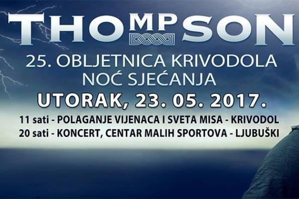 Noć sjećanja: Thompson nastupa u Ljubuškom povodom 25. obljetnice Krivodola