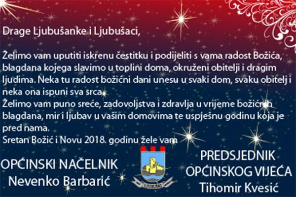 Božićna čestitka načelnika Nevenka Barbarića i predsjednika OV Tihomira Kvesića